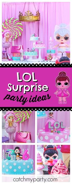 Check out this awesome LOL Surprise dolls birthday party! The dessert table and decor are stunning!! See more party ideas and share yours at CatchMyParty.com #lolsurprisedoll #partyideas #lolsurprisedolls #doll #party #kidsparty #partyfun #lolsurprise