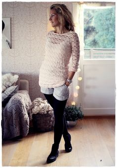 Style Inspiration, Fashion Outfits, Pullover, Knitting, Hair Styles, Crochet, Classic, Sweaters, Dresses