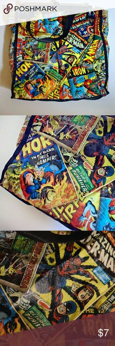 Marvel Comics Recycle Tote Bag Nice bag. It's a little crinkly because it was in a box for a while. No rips or tears. Would be perfect to carry around some school books or you laptop or tablets Marvel Bags Totes