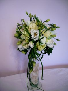 Bukiet - eustoma, goździk, tulipan, trawa