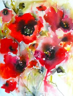 "Poppies en masse II - Saatchi Online Artist Karin Johannesson; Painting, ""Poppies en masse II"" #art - Sold"