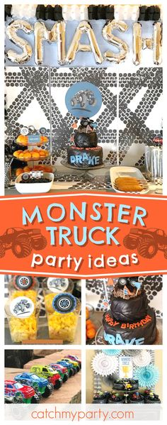 Check out this awesome Monster Truck Birthday Party Smash! The birthday cake is fantastic!! See more party ideas and share yours at CatchMyParty.com #trucks #boybirthday