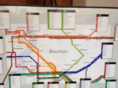 Another great transport themed seating chart. This one is based on the Brooklyn, New York subway map. Seating Plan Wedding, Wedding Prep, Wedding Tables, Wedding Ideas, New York Party, Underground Map, Subway Map, New York Subway, Table Names