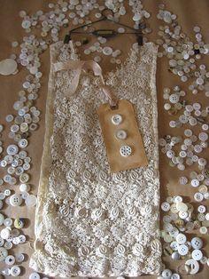 Antique lace and vintage buttons