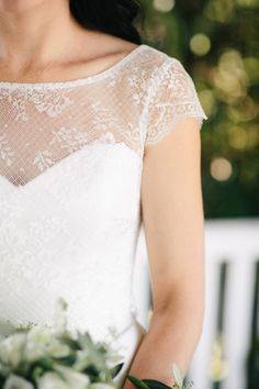 Lace cap sleeve dress: http://www.stylemepretty.com/australia-weddings/new-south-wales-au/byron-bay/2015/01/01/elegant-byron-view-farm-wedding/ | Photography: White Images - http://whiteimages.com.au/