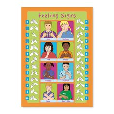 Feelings Poster - Learn to show how you are feeling in sign language.