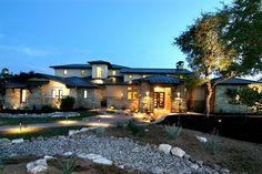 Front Elevation Hill Country Modern by Zbranek & Holt Custom Homes, Austin Luxury Custom Home Builder