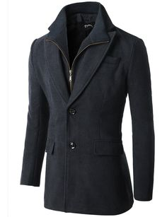 $34.99 Wool Bledded Zipper Front Classic Tailor Long Coat (CMOCO013)
