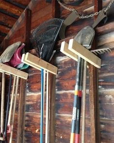 Easy Garage Tool Hangers So Simple Garden Tool Hangers. Why didn't I think of this?So Simple Garden Tool Hangers. Why didn't I think of this? Storage Shed Organization, Garage Tool Storage, Garage Shed, Garage Tools, Storage Organizers, Garage Art, Storage Units, Storage Solutions, Garage Organisation