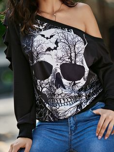 SHARE & Get it FREE | Halloween Skull Print Ripped Skew Neck SweatshirtFor Fashion Lovers only:80,000  Items • New Arrivals Daily • Affordable Casual to Chic for Every Occasion Join Sammydress: Get YOUR $50 NOW!