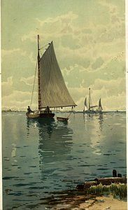 Vintage Sailboat Photograph - Sailboat Floating On Calm Waters by Gillham Studios