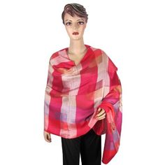 Amazon.com: Shawl Reversible Party Wear Scarf Pink Red Plaid Silk Pashmina Wrap Stole Shawl: Clothing $19.99