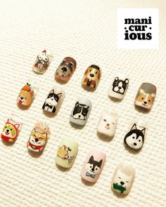 Just a couple of CNY pups 🐶 . Dog Nail Art, Animal Nail Art, Dog Nails, New Year's Nails, Kawaii Nail Art, Cute Nail Art, Nail Art Diy, Cute Nails, Nail Art Designs Videos