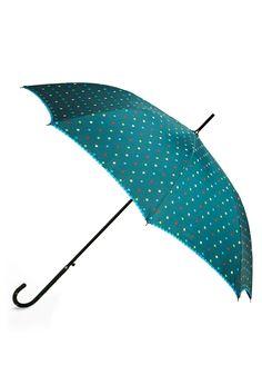teal, polka dots, and rickrack trim. adorable umbrella.