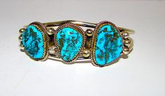 Old Pawn Navajo Sterling Silver Kingman Mine Turquoise Cuff Bracelet