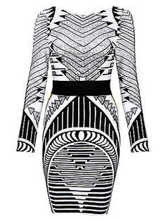 Geometric Print Blackless Sexy Party Bandage Dress