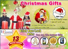 Send Last-Minute Christmas Gifts that Lasts A Lifetime ! !  & Chance to win #DiamondSet #SamsungMobiles #GoldCoins #SamsungiPad #iPad and Much More  Click for details : http://us2guntur.com/ClickYourLuck-2015.html  #Christmas2014 #NewYear2015