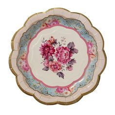 Paper plate with vintage flower print