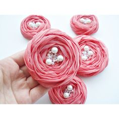 Coral Chiffon Roses Handmade Appliques by BizimSupplies on Etsy ($13) via Polyvore