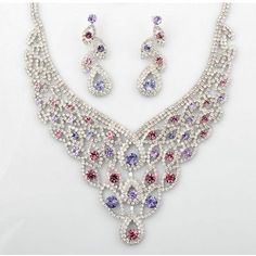 Silver Fuchsia Purple Edwardian Fashion Bridal Wedding Jewelry Sets SKU-10801132