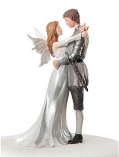 groom bride wedding cake top Knight shining armor fairy medieval fantasy renaissance Middle Earth Hobbit