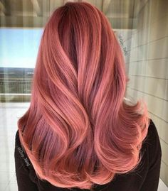 "27 Rose Gold Hair Color Ideas That Make You Say ""Wow!"", Rose Gold Hair Color Gold Pink Hair Colors Fashion for certain colors and shades can walk in a circle for several years or regularly come back into us. Gold Hair Colors, Red Hair Color, Cool Hair Color, Red Pink Hair, Red Hair To Rose Gold, Copper Rose Gold Hair, Pink Wig, Hair Colours, Rose Gold Hair Colour"