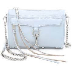 Rebecca Minkoff Mini MAC Cross Body Bag ($195) ❤ liked on Polyvore featuring bags, handbags, shoulder bags, bleached blue, rebecca minkoff crossbody, genuine leather handbags, mini crossbody, crossbody shoulder bags and leather purse