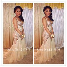2015 Crystal Mermaid Long Prom Dresses Sexy Spaghetti Rhiestones Bling Sparkly Evening Party Dresses Champagne Vestidos De Festa