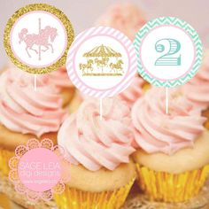 Is your little princess having a special day? Personalize your carousel themed party with these fabulously cute cupcake toppers, which you can print from the convenience of your own home or bring it to your favorite local photo lab. Alternatively, you can also use them as stickers or as favour tags.  WHAT YOU WILL RECEIVE: High-quality PDF or JPEG A4 sheet (electronically) with 12 2 circles ready to print and cut! (Note: no physical goods will be shipped to you) WHAT YOU HAVE TO DO...at…