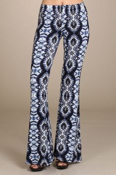 MADE TO ORDER Womens Tribal Print Blue Multi Colored High Rise Bell Bottom Pants