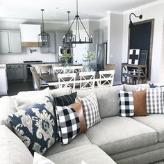 38 Inspiring Modern Living Room Decorations Ideas To Manage Your Home 38 Inspiring modern interior design ideas Design Living Room, Living Room Kitchen, Living Room Modern, Home Living Room, Apartment Living, Plaid Living Room, Cozy Living, Living Room With Grey Walls, Living Room Decor Blue
