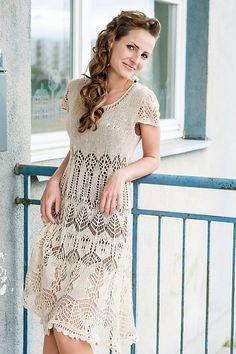 Ligvita's dress Lace Knitting Patterns, Dress Patterns, Mode Crochet, Knit Crochet, Knit Skirt, Knit Dress, Special Dresses, Crochet Woman, Crochet Fashion