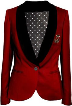 Red tailored womens blazer jacket