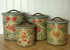 These would totally match my kitchen and look beautiful!  Love them!  Jadeite Holland Daher Shabby Tin Canister Set by Somethingcharming, $90.00
