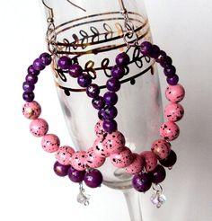 purple and pink bauble earrings hoops earrings by NezDesigns, $10.00