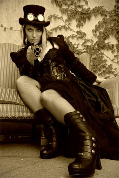Sepia photography captures this Steampunk style & softens the hard edge futuristic elements & highlights the Victorian style & beauty.