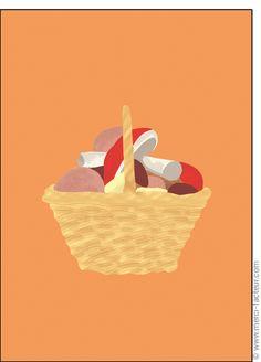 #carte #illustration #couleur #autumn #leaves #color #plantes #café #cards #snail #autumn #plants #leaves #mushroom #coffee Carte #Panier de #champignons pour envoyer par La Poste, sur Merci-Facteur ! Illustrations, Stuffed Mushrooms, Gallery, Movie Posters, Card Basket, The Letterman, November, Autumn, Cards
