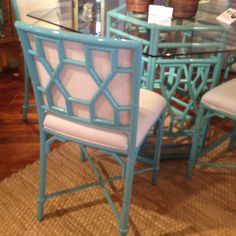 Aqua Lacquer Bamboo Bar Table and stools by Lilly Pulitzer in Market Square.