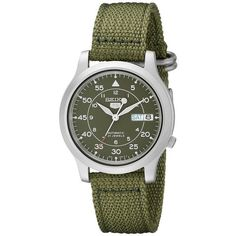 Seiko 5 Men's Automatic Watch with Green Dial Analogue Display and... (110 CAD) ❤ liked on Polyvore featuring men's fashion, men's jewelry, men's watches, mens automatic watch, mens watches, mens watches jewelry, seiko mens watches and mens blue dial watches