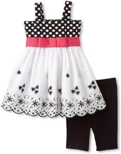 Amazon.com: Sweet Heart Rose Girls 2-6X Polka Dot Embroidered Bike Short Set, Black/White, 3: Clothing