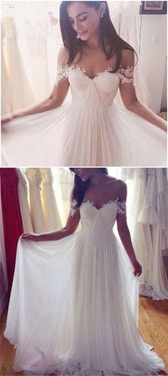 Off Shoulder white wedding dress ,Sexy Wedding Dress,Backless Prom Dresses,Pretty Prom Dress