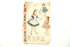Vintage 1950s Simplicity Pattern 3702 Child's One piece dress with pinafore by ThirdShift - perfect for little girls, or even flower girls for vintage inspired weddings!  #vintagesewing #thirdshift3 #thirdshiftvintage