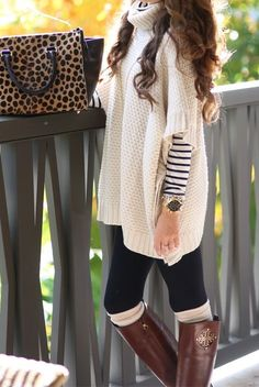 relaxed sweater, riding boots, leggings and leopard print bag.. great look!