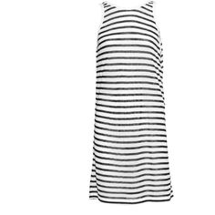 T BY ALEXANDER WANG Stripe Tank Mini Dark Blue And White // Striped... ($83) ❤ liked on Polyvore featuring dresses, short dresses, stripe dresses, sheer dress, striped dress and cut-out dresses