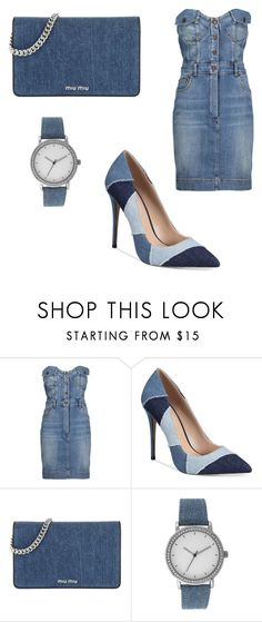 """""""denim"""" by ny-silk ❤ liked on Polyvore featuring Moschino, ALDO, Miu Miu and A Classic Time Watch Co."""