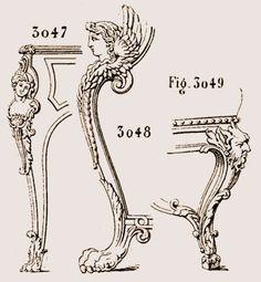 la figure 3047, commence l'époque de la Régence ; reproduit le pied est de Cressent, ébéniste du Régent. la figure 3048, reproduisant un pied d'âtre à l'hôtel de Soubise à Paris.