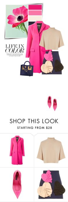 """""""Bright coat """" by sophiek82 ❤ liked on Polyvore featuring MSGM, Warehouse, Dolce&Gabbana and Sophie Hulme"""