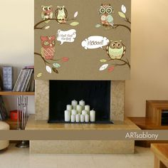 (3451f) Nálepka na stenu - Sovy na jeseň   ARTSABLONY.SK