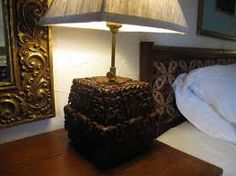 Carved lamp and bed