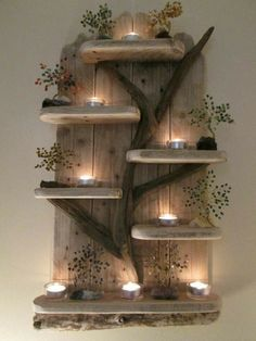 Amazing Fairy Tree Unique Driftwood Shelves Solid Rustic Shabby Chic Nautical in 2020 Shabby Chic Chairs, Rustic Shabby Chic, Shabby Chic Furniture, Rustic Decor, Rustic Style, Wooden Decor, Driftwood Shelf, Driftwood Crafts, Home Decor Wall Art